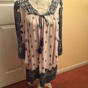 ANGIE M Blue&White Rayon Tunic 3/4 Sleeves India